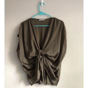 Zara Oversized Olive Green Tie Front Blouse Sz L